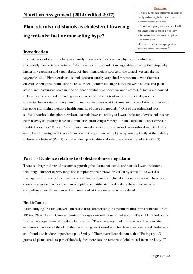 Best essay about nutrition rea