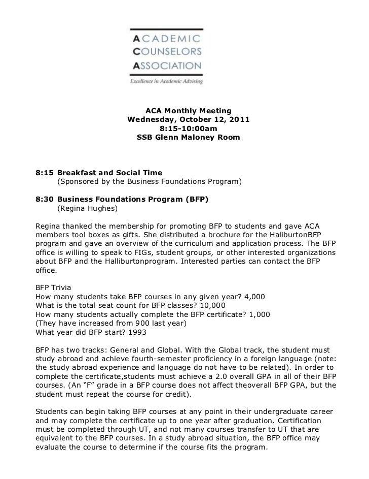 ACA Monthly Meeting                          Wednesday, October 12, 2011                                8:15-10:00am      ...