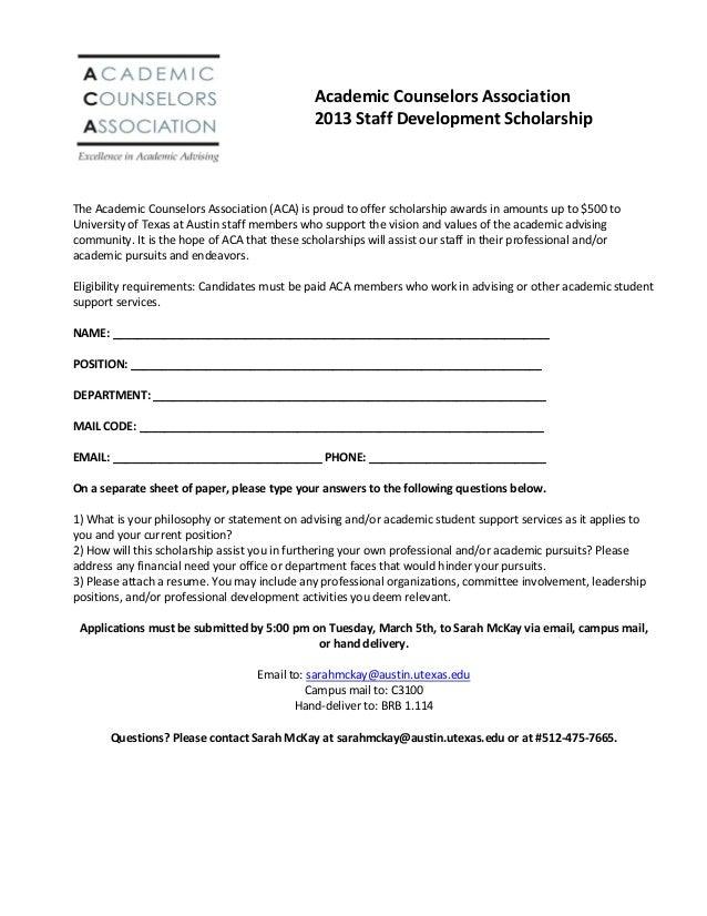 Academic Counselors Association                                               2013 Staff Development ScholarshipThe Academ...