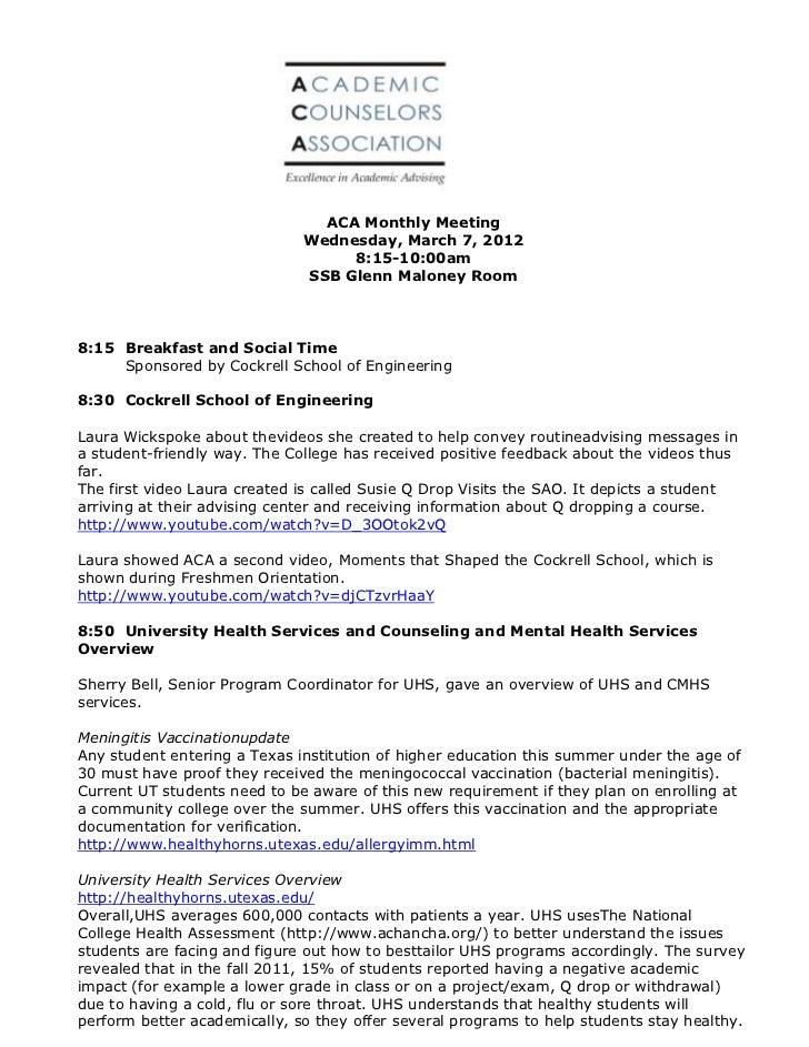 ACA March 2012 General Meeting Minutes