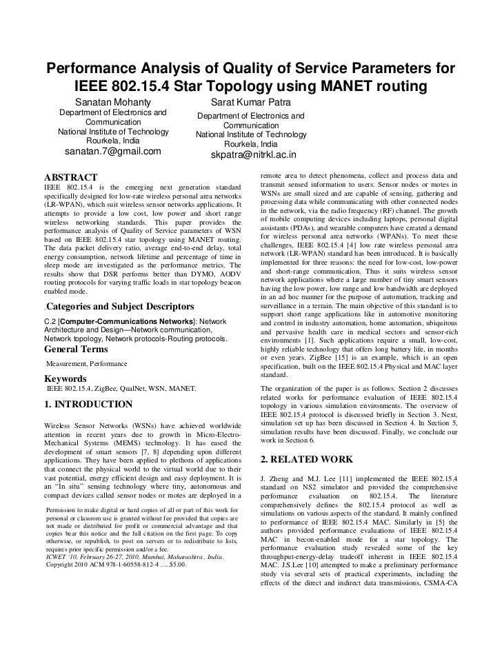 Performance Analysis of Quality of Service Parameters for    IEEE 802.15.4 Star Topology using MANET routing           San...