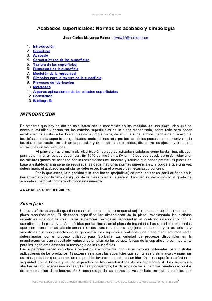www.monografias.com          Acabados superficiales: Normas de acabado y simbología                              Jose Carl...