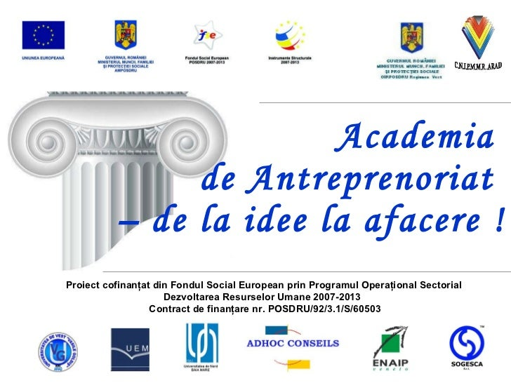 Academia  de Antreprenoriat  – de la idee la afacere ! Proiect cofinanţat din Fondul Social European prin Programul Operaţ...