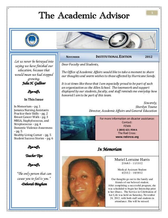 Academic Affairs Newsletter- November 2012