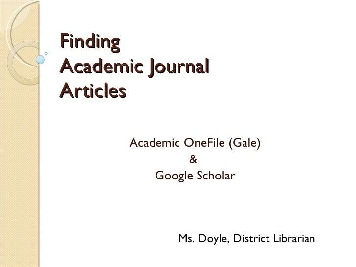 Finding Peer-Reviewed Journal Articles