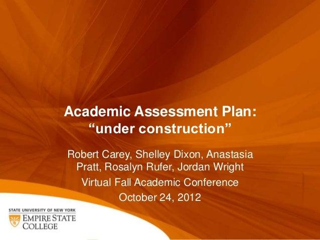 "Academic Assessment Plan:   ""under construction""Robert Carey, Shelley Dixon, Anastasia Pratt, Rosalyn Rufer, Jordan Wright..."