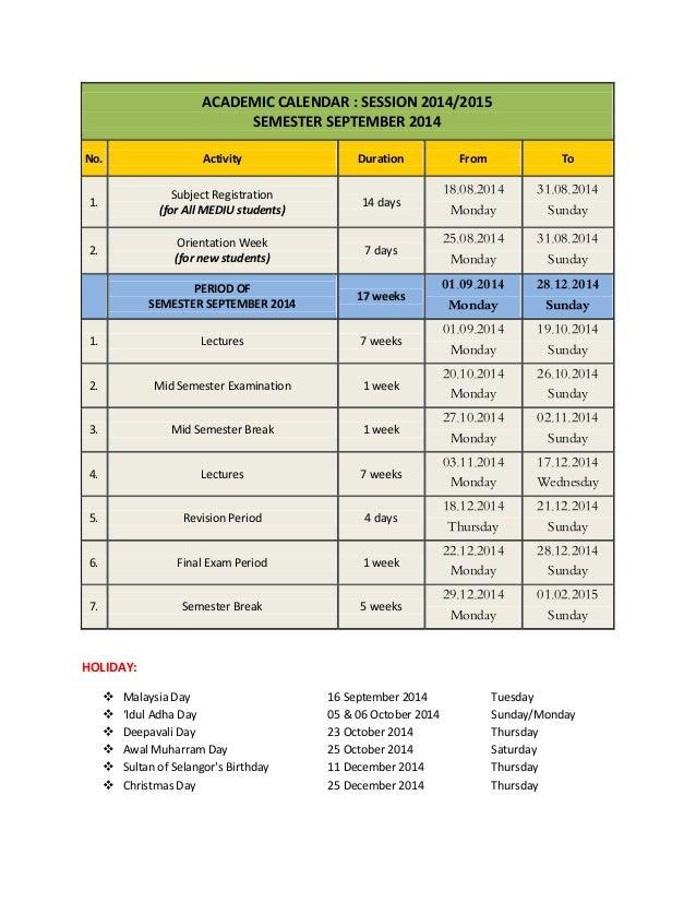 Du Academic Calendar