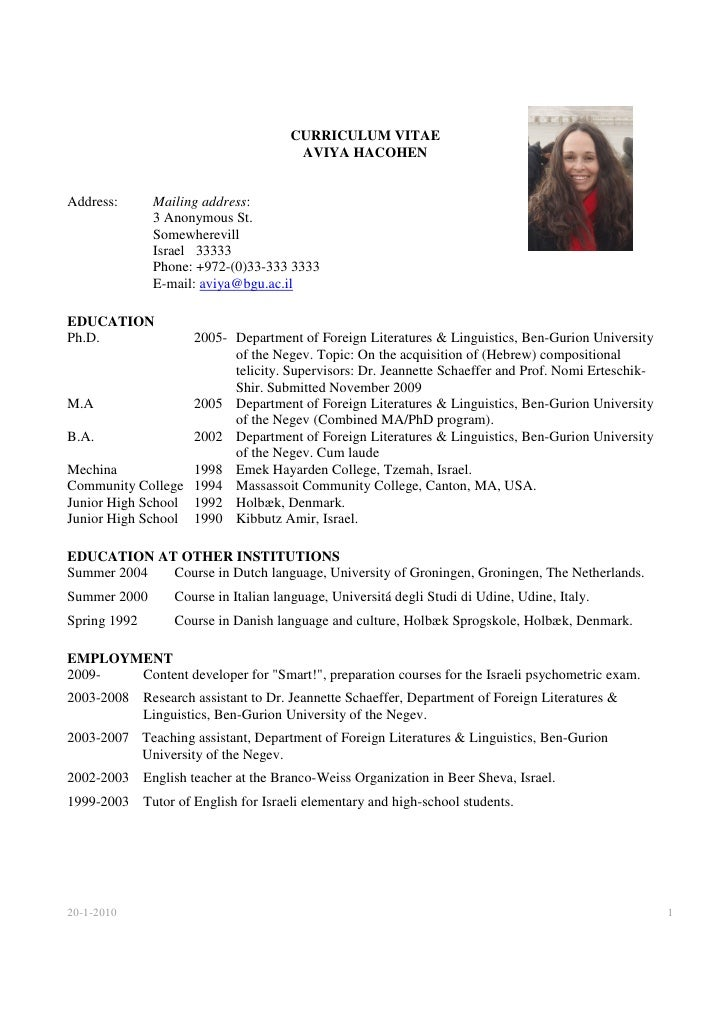 English Cv Example Usa CURRICULUM VITAE AVIYA HACOHEN
