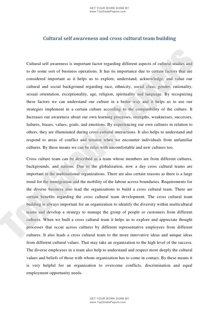 cultural awareness 3 essay Essays related to self awareness 1 the self, self esteem and children define the following aspects of the self: existential, categorical and self - awareness  self - awareness is recognising your self in either a picture or in the mirror it is being aware of yourself and that you are there.