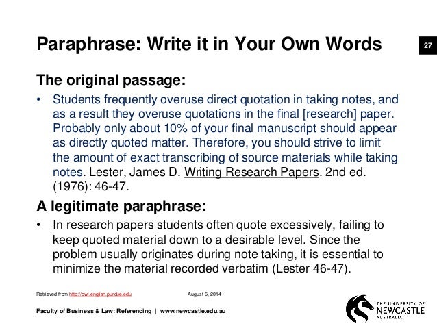 Paraphrase write in your own words