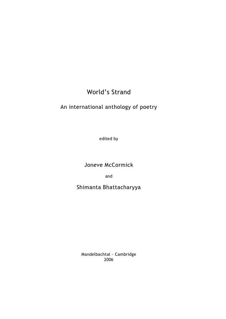 World's StrandAn international anthology of poetry               edited by        Joneve McCormick                 and    ...