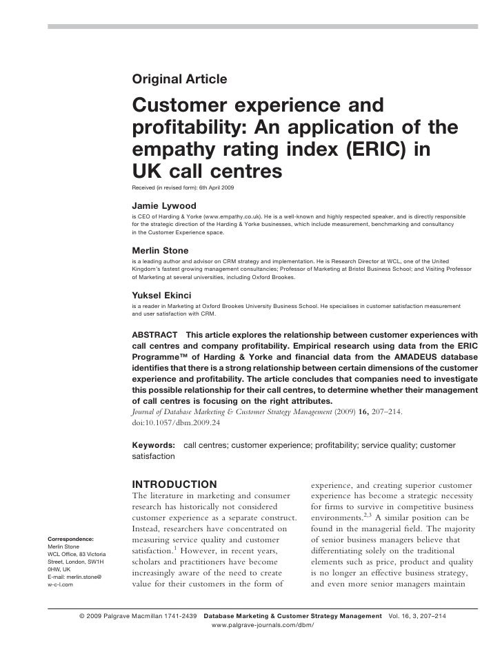 Original Article                             Customer experience and                            profitability: An applicati...