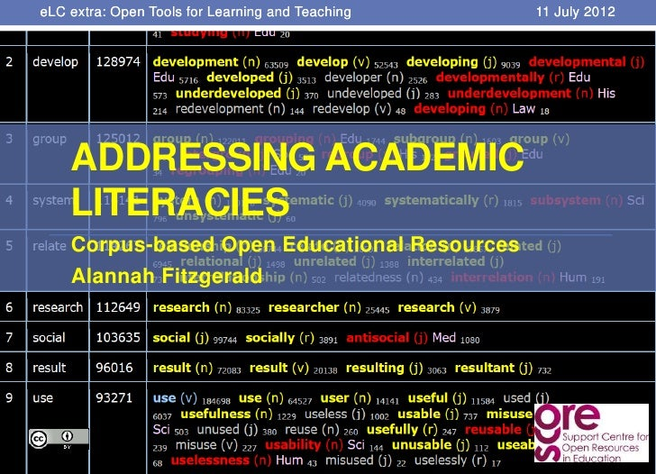 eLC extra: Open Tools for Learning and Teaching   11 July 2012    ADDRESSING ACADEMIC    LITERACIES    Corpus-based Open E...