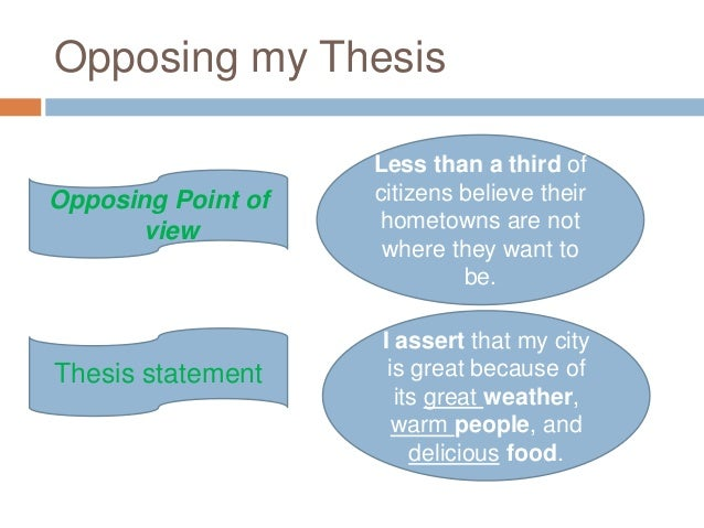 opposing thesis The thesis for your argument needs to be opinionated or the anticipated opposing viewpoint could be that ufc fighters undergo extensive training and skill.