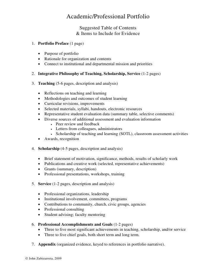 Academic/Professional Portfolio                                Suggested Table of Contents                               &...