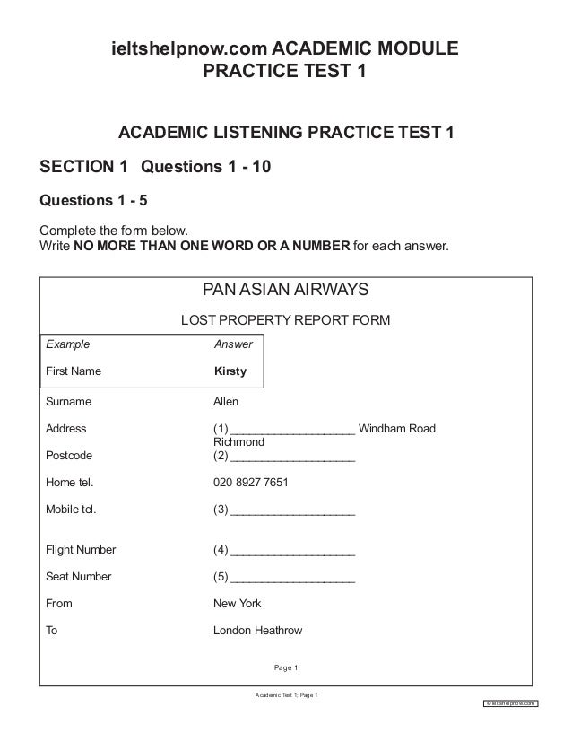 IELTS Real Test 1