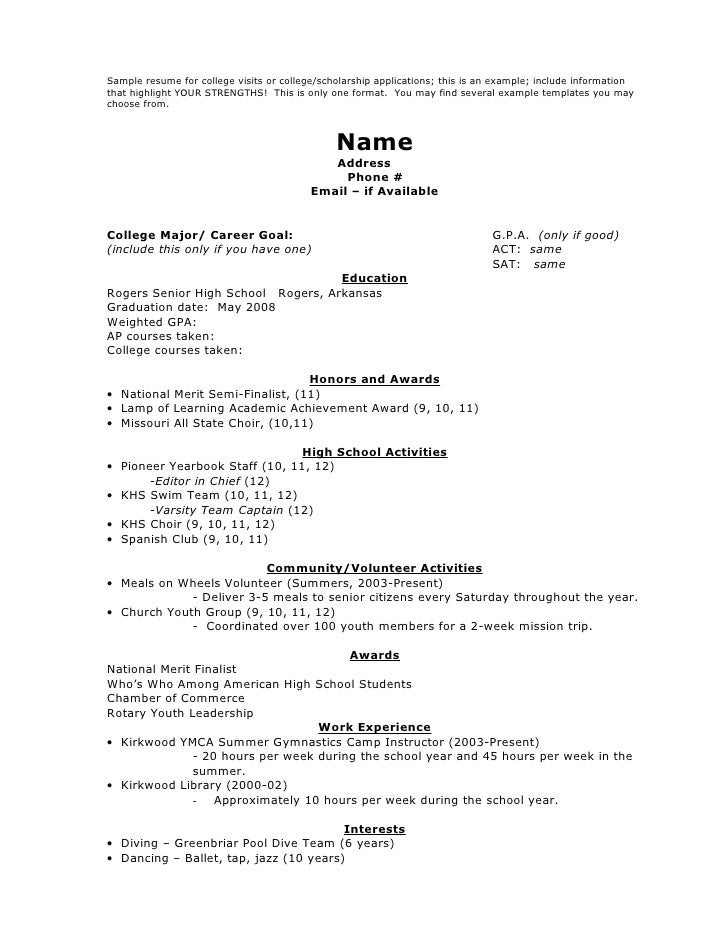 High ...  Resume For Applying To College