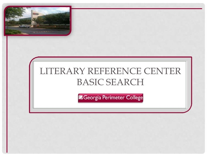 Literary Reference CenterBasic search<br />