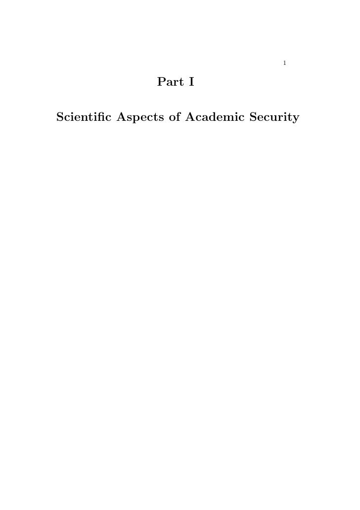 1                  Part I  Scientific Aspects of Academic Security