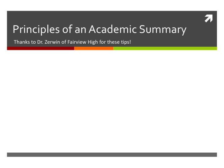 Academic summary