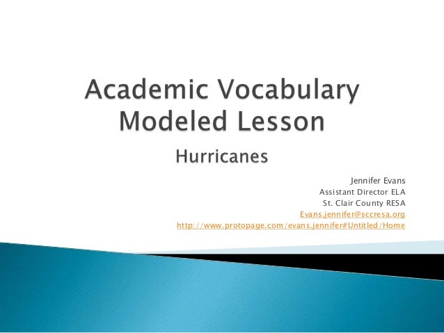 Academic vocabulary modeled lesson hurricanes pp