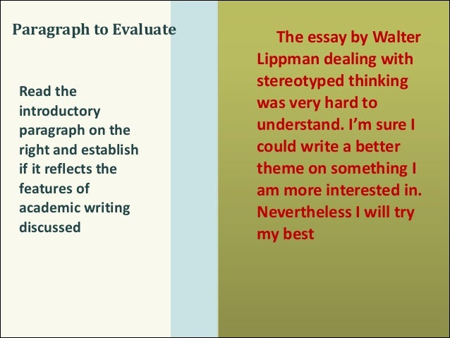 features of evaluative essay