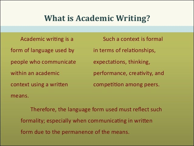 The academic writing
