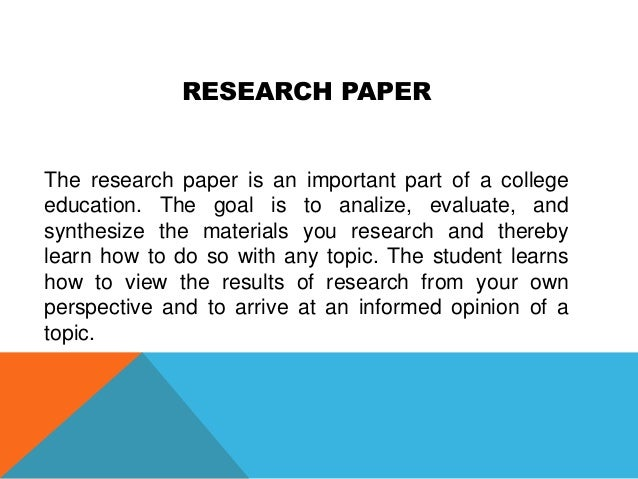 research paper options
