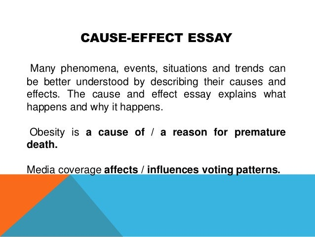 cause and effect essay for obesity This causes and effects model essay is about obesity in children you specifically have to talk about the causes (reasons) of the increase in overweight children, and explain the effects (results) of this.