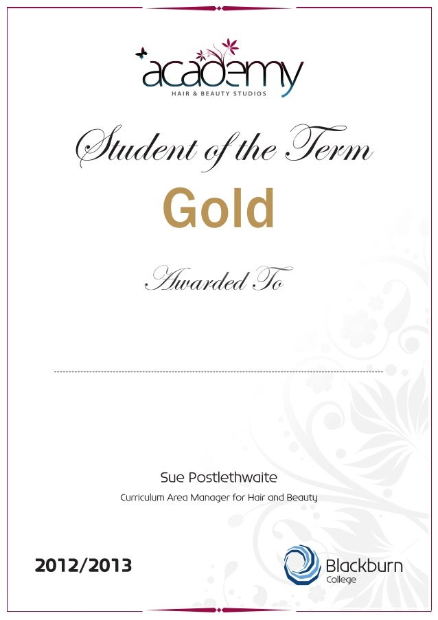 Academy certificate   student of the term - gold outlines