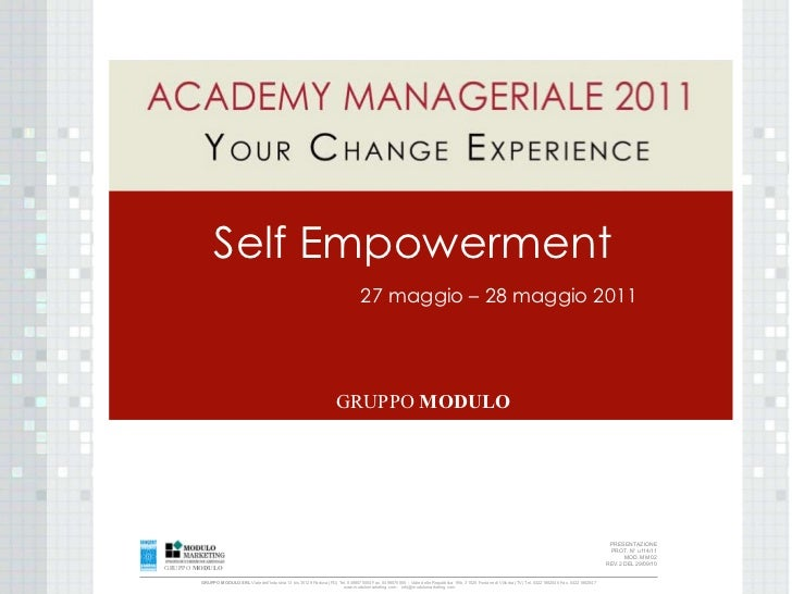 Academy manageriale 2011 Self Empowerment