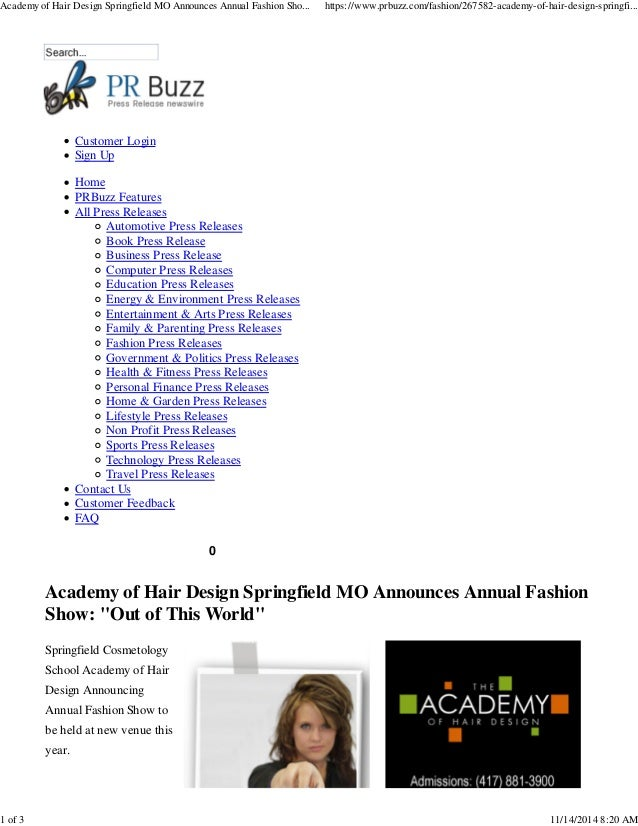 Academy of hair design s annual fashion show out of this for Out of this world design