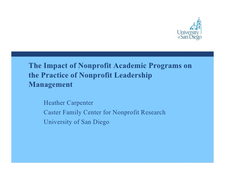 The Impact of Nonprofit Academic Programs on the Practice of Nonprofit Leadership and Management