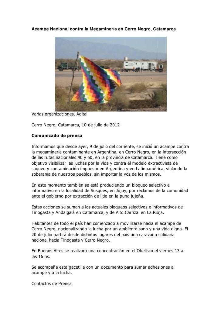 Acampe Nacional contra la Megaminería en Cerro Negro, CatamarcaVarias organizaciones. AditalCerro Negro, Catamarca, 10 de ...