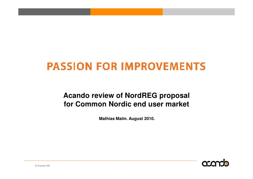 Acando review of NordREG proposal regarding a common Nordic end user market for Utilities (ele