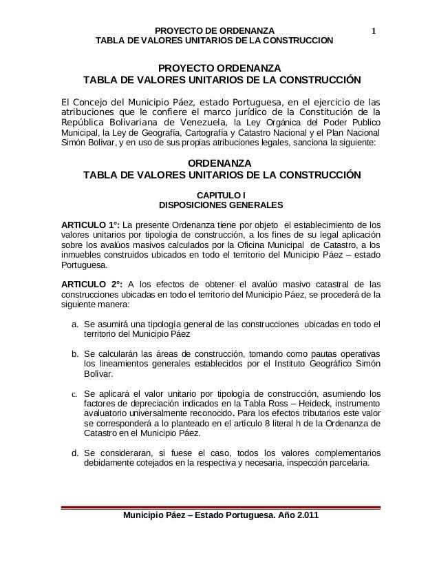 PROYECTO DE ORDENANZA  TABLA DE VALORES UNITARIOS DE LA CONSTRUCCION  PROYECTO ORDENANZA  TABLA DE VALORES UNITARIOS DE LA...