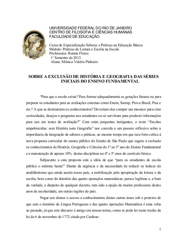 UNIVERSIDADE FEDERAL DO RIO DE JANEIRO CENTRO DE FILOSOFIA E CIÊNCIAS HUMANAS FACULDADE DE EDUCAÇÃO Curso de Especializaçã...