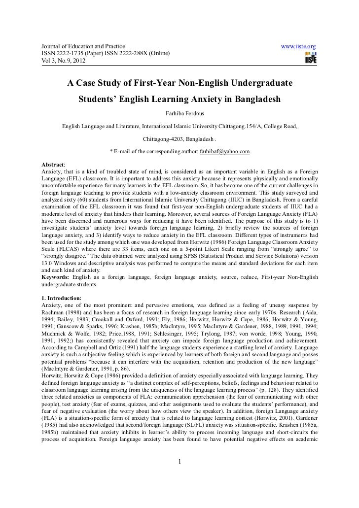 A case study of first year non-english undergraduate