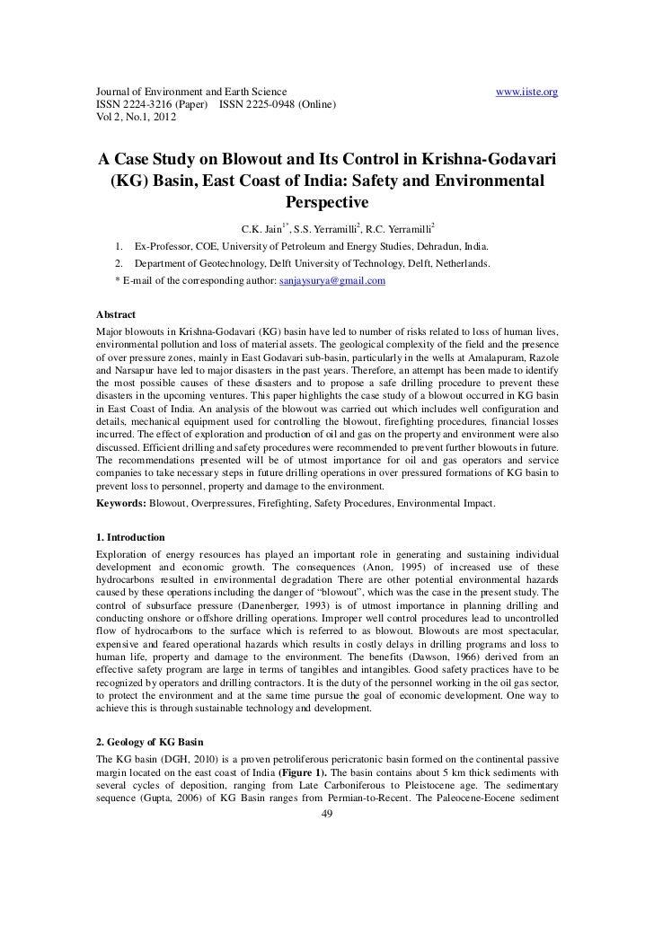 A case study on blowout and its control in krishna godavari (kg) basin, east coast of india
