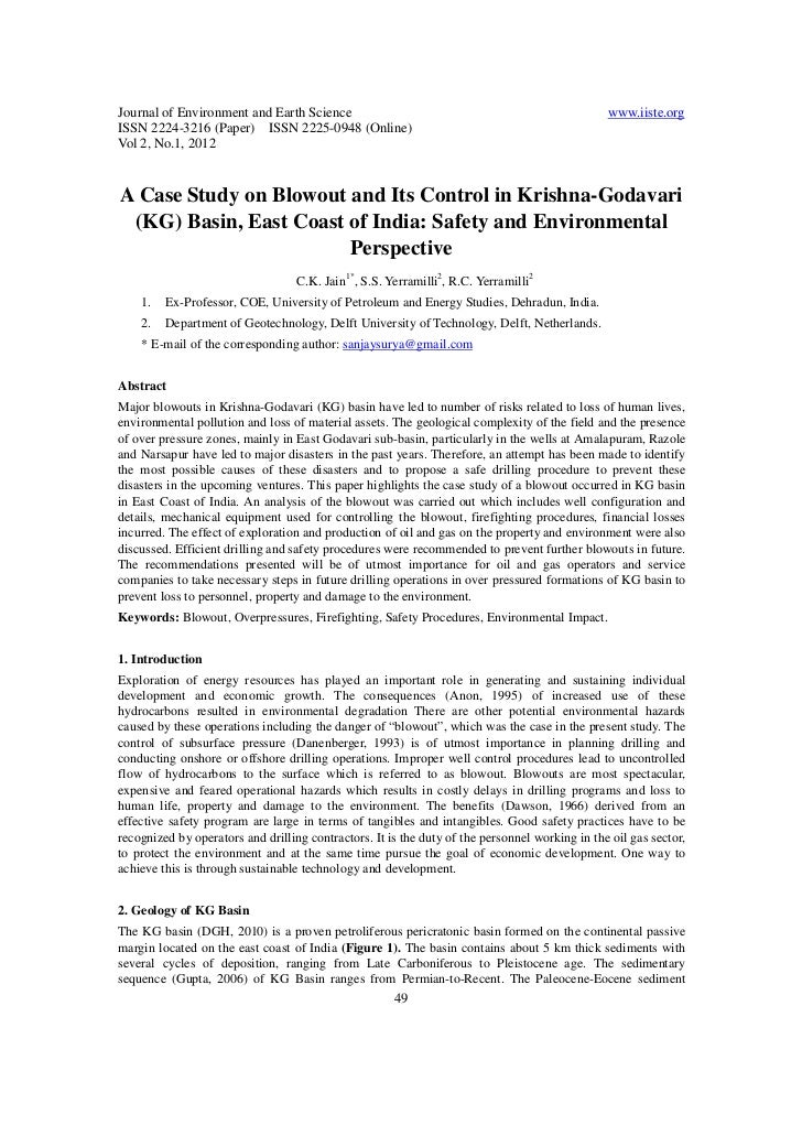 A case study on blowout and its control in krishna godavari (kg) basin, east coast of india