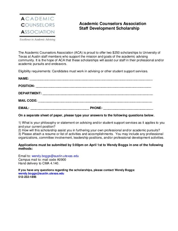 ACA Staff Scholarship Application 2011