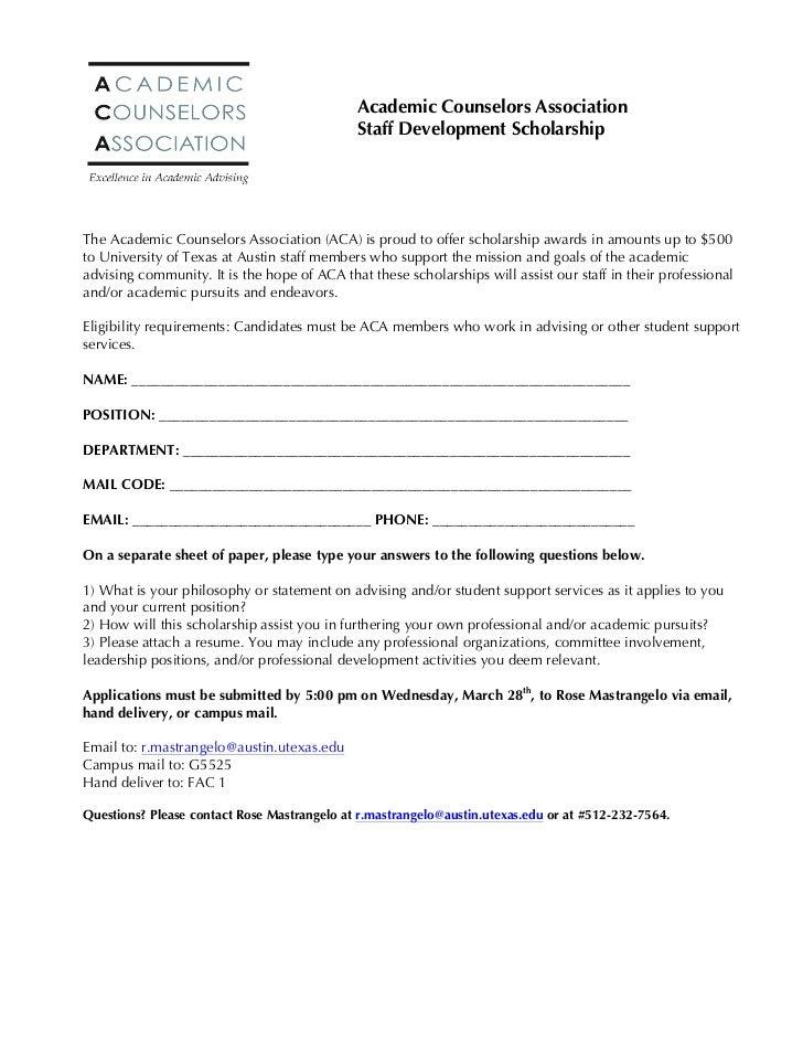 Academic Counselors Association                                               Staff Development Scholarship               ...