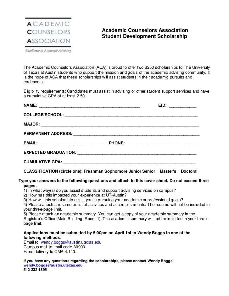 ACA Student Scholarship Application 2011