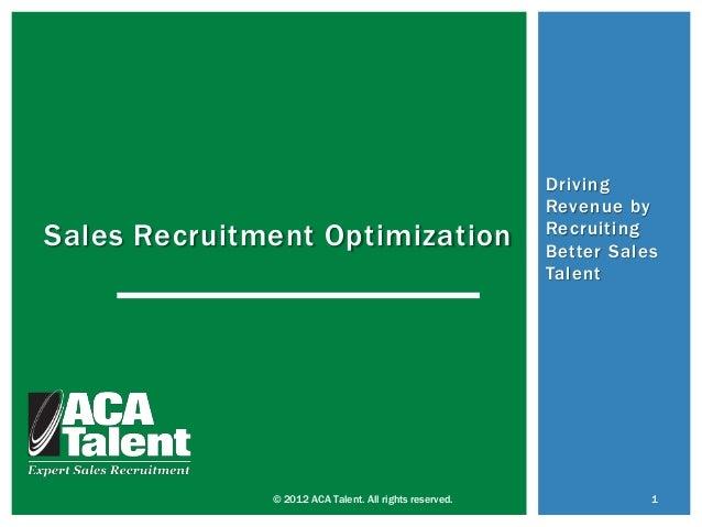 Driving                                                        Revenue bySales Recruitment Optimization                   ...