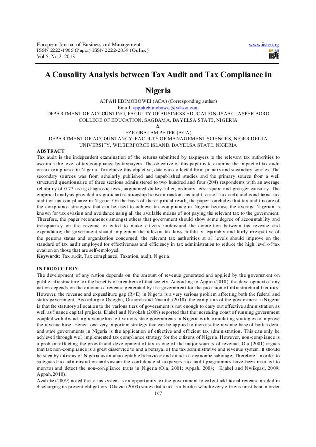A causality analysis between tax audit and tax compliance in nigeria
