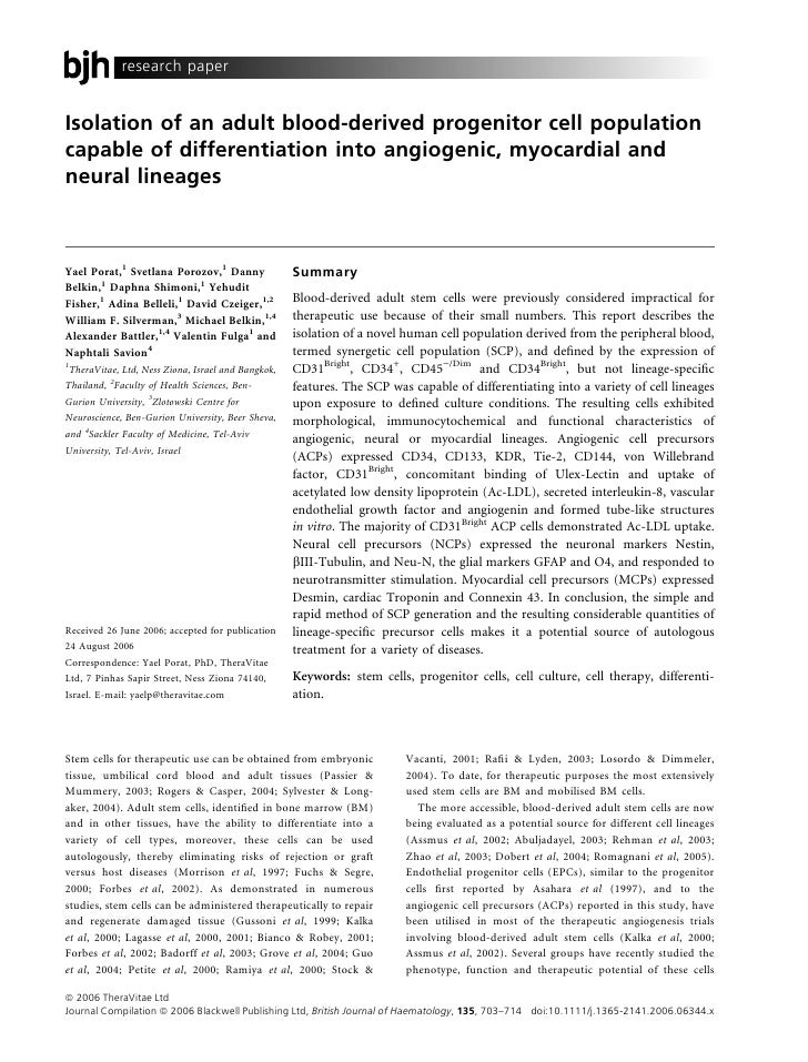 research paperIsolation of an adult blood-derived progenitor cell populationcapable of differentiation into angiogenic, my...