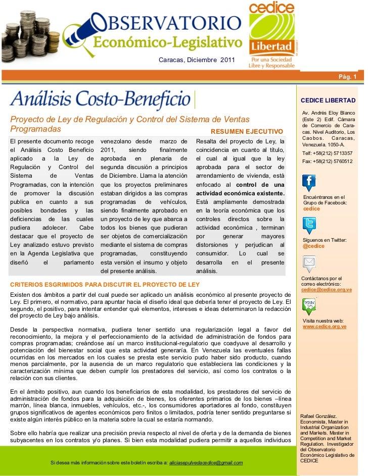 Análisis Costo-Beneficio de la Ley de Regulación del Sistema de Ventas Programadas