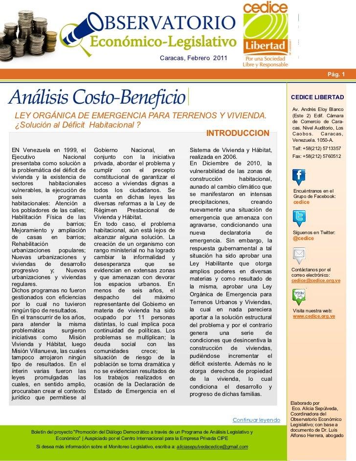 Análisis Costo-Beneficio de Ley de Emergencia de Terrenos Urbanos