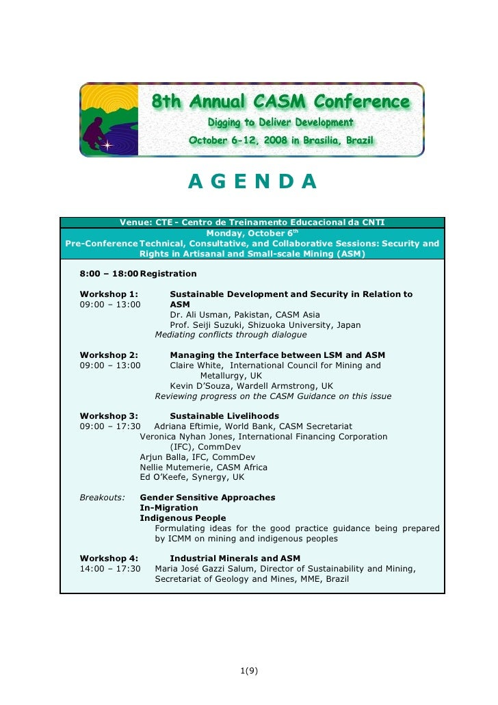 AGENDA            Venue: CTE - Centro de Treinamento Educacional da CNTI                               Monday, October 6th...
