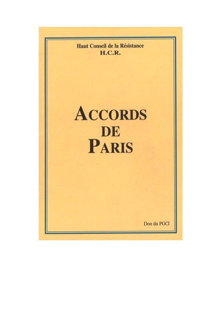 Les Accords de Paris (Oct. 1994)